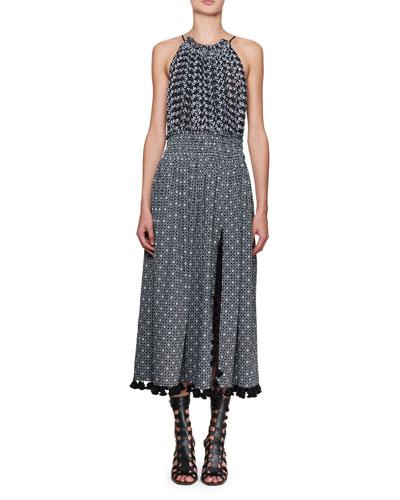 Ruched Floral Halter Midi Dress