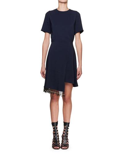 Short-Sleeve Stretch-Cady Fringe Dress