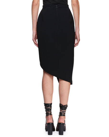 Asymmetric Button-Trim Pencil Skirt