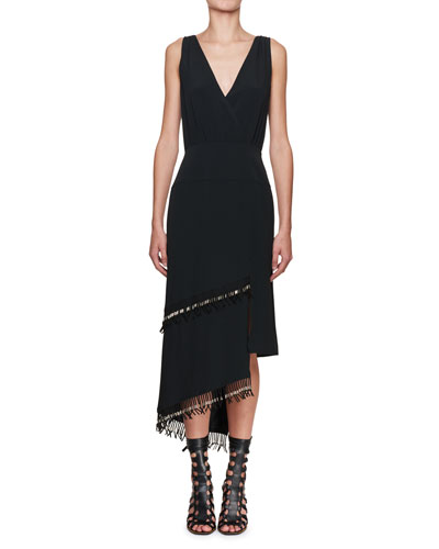 Sleeveless Fringe-Trim Midi Dress