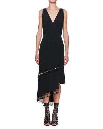 Sleeveless Fringe-Trim Midi Dress