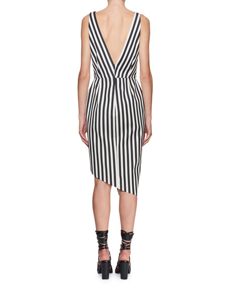 Sleeveless Asymmetric Mixed-Stripe Dress