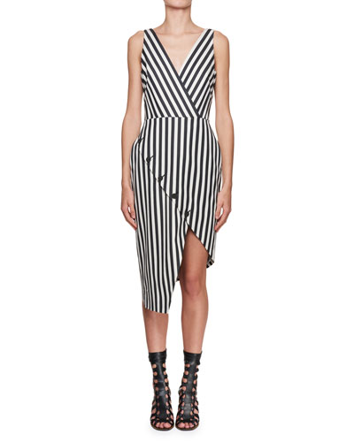 Sleeveless Asymmetric Mixed-Stripe Dress