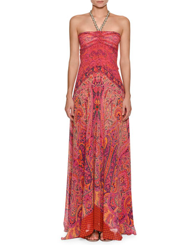 Paisley Silk Halter Gown