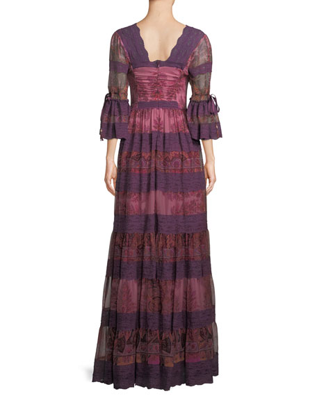 Lace-Trim V-Neck Silk Gown