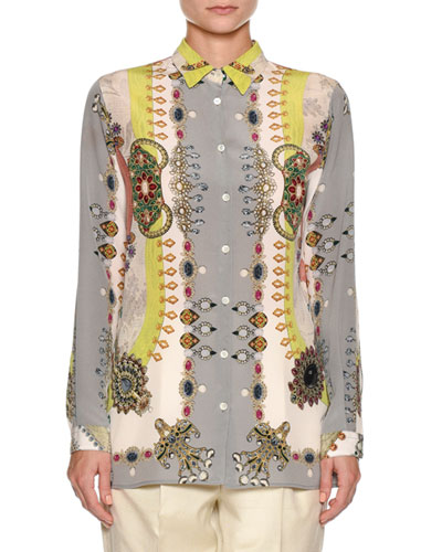 Jewel-Print Silk Blouse