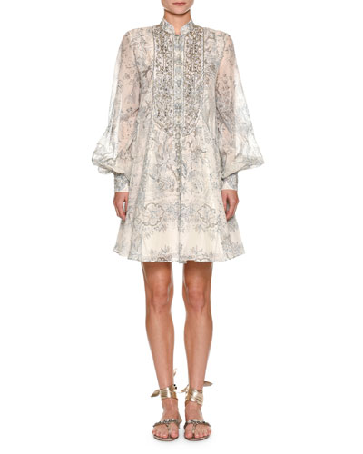 Mandarin-Collar Paisley Dress