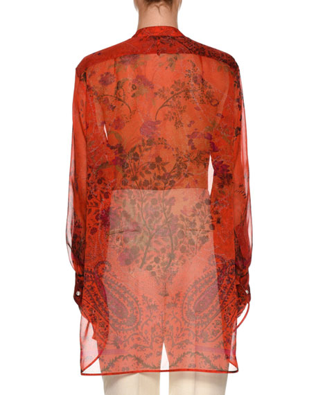 Sheer Floral Silk Tunic
