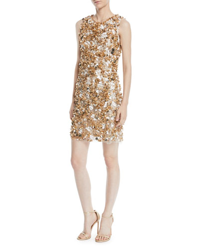 Sleeveless Paillette-Embroidered Mini Cocktail Dress