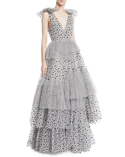 Deep-V Sleeveless Dotted Tiered Evening Gown