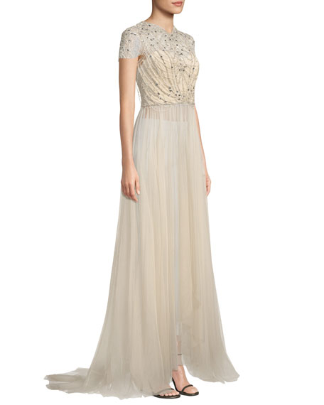 Cap-Sleeve Embellished-Bodice Tulle Evening Gown