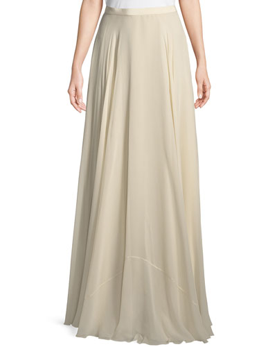 A-Line Silk Crepe Long Skirt
