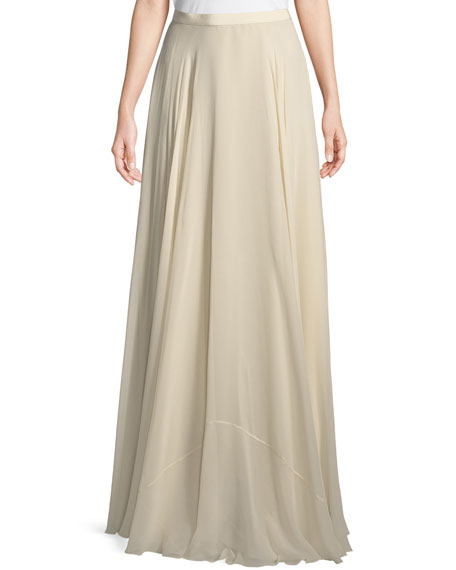 A-Line Silk Crepe Long Skirt