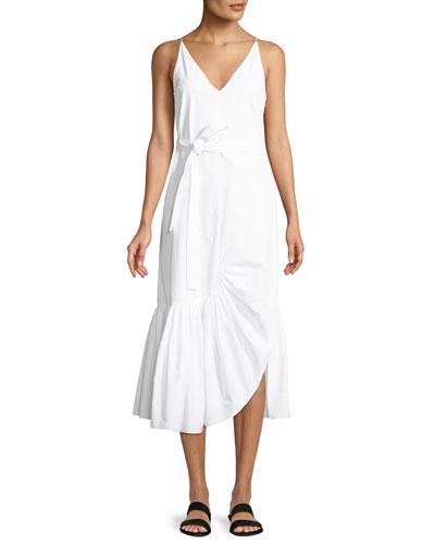 V-Neck Sleeveless Tie-Waist Ruffle Camisole Shift Dress