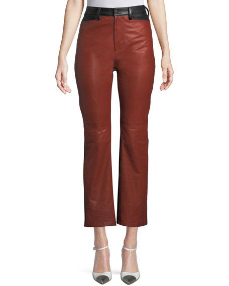 4870af8c1ca9 Rosetta Getty Straight-Leg Colorblocked Lamb Leather Pants