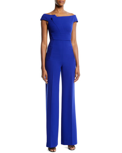 Off-the-Shoulder Asymmetric Straight-Leg Jumpsuit