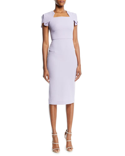 Square-Neck Cap-Sleeve Sheath Dress
