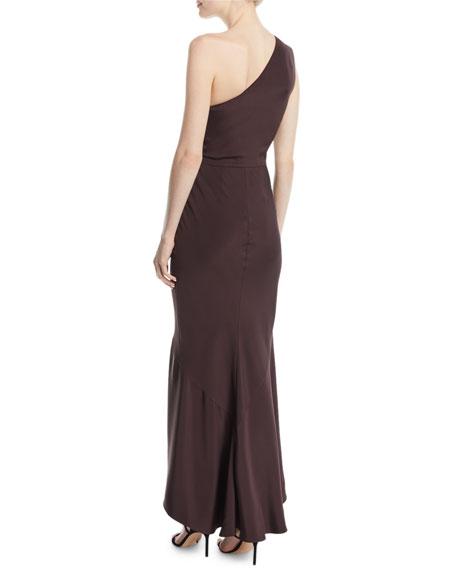 One-Shoulder Paillette-Embroidered Bodice Silk Trumpet Cocktail Dress