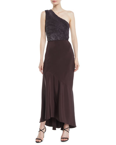 One-Shoulder Paillette-Embroidered Bodice Silk Trumpet Cocktail Dress