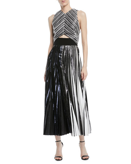 High-Neck Sleeveless Metallic Foil Cloqué Cocktail Dress