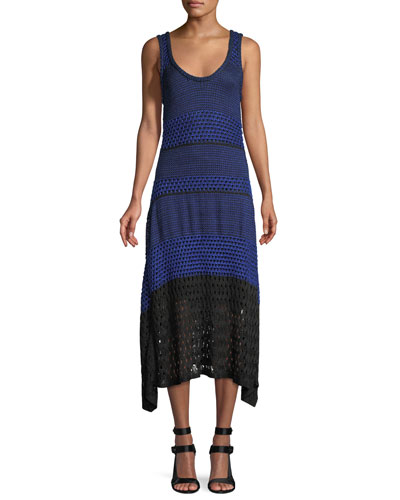 Scoop-Neck Sleeveless Open-Knit Dress