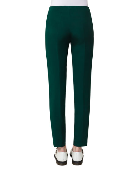 Melissa Silk Crepe Slim-Fit Pants