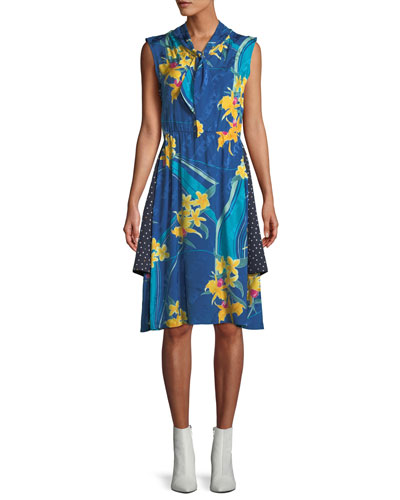 Sleeveless Tie-Neck Two-Layer Floral & Dot-Print A-Line Silk Dress