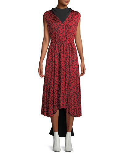 Sleeveless Tie-Waist Leopard-Print Silk Midi Dress w/ Back Panel