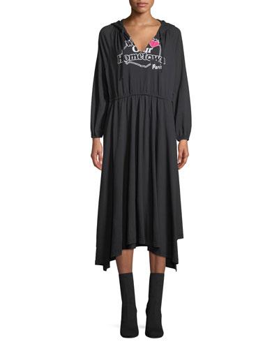 Paris Hooded V-Neck A-Line Cotton Jersey Midi Dress