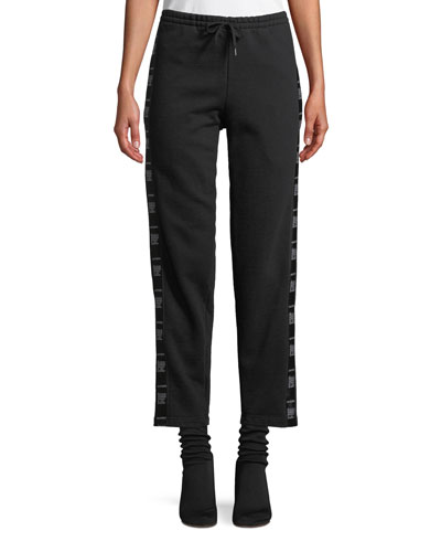 Straight-Leg Cotton Sweatpants with Tape Detail