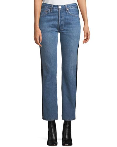 Straight-Leg Denim & Leather Jeans