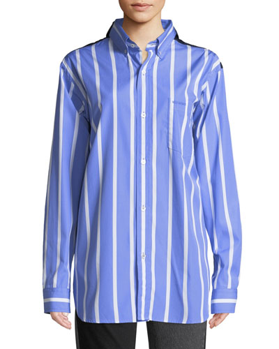 Long-Sleeve Button-Down Double-Face Striped Shirt