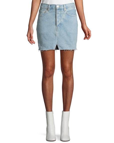Two-Tone Straight Denim Mini Skirt w/ Released Hem