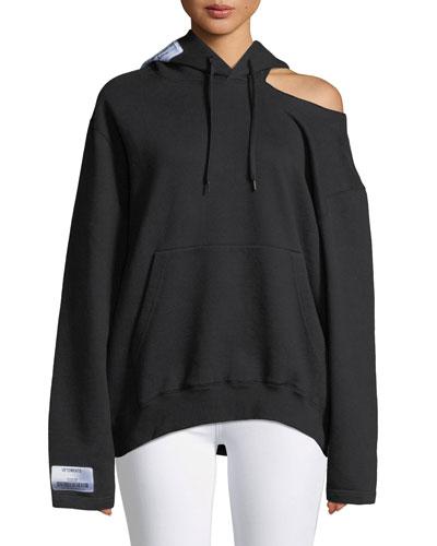 Open-Shoulder Long-Sleeve Hooded Sweatshirt w/ Patch Detail