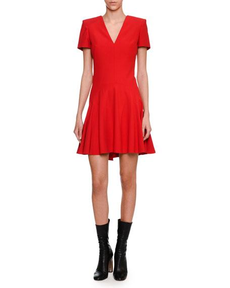Short-Sleeve V-Neck Fit & Flare Dress, Scarlet