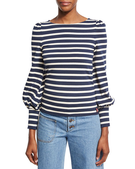 Striped Boat-Neck Puff-Sleeve Tee, Navy