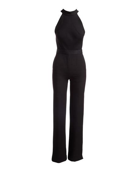 Mock-Neck Bow-Detail Jumpsuit
