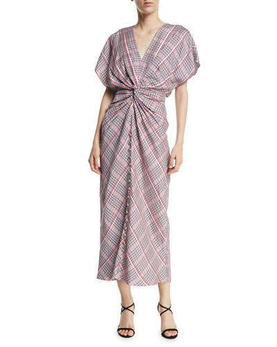 Jackie Twist-Front Plaid Dress