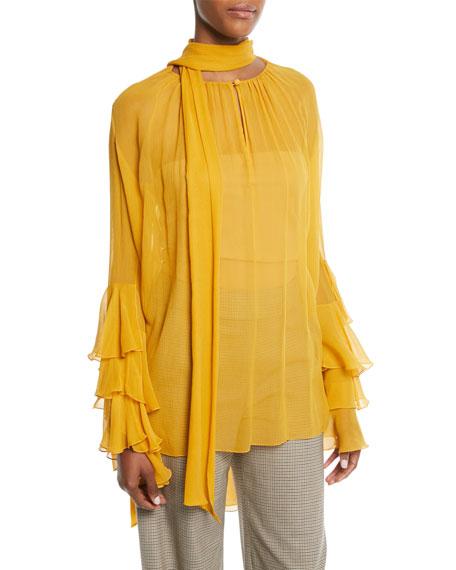 PRABAL GURUNG Tie-Neck Tiered-Sleeve Silk Georgette Blouse in Yellow