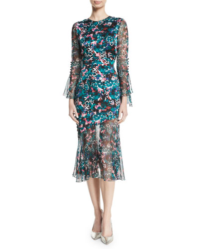 Jewel-Neck Ruffle-Sleeve Floral-Print Dress