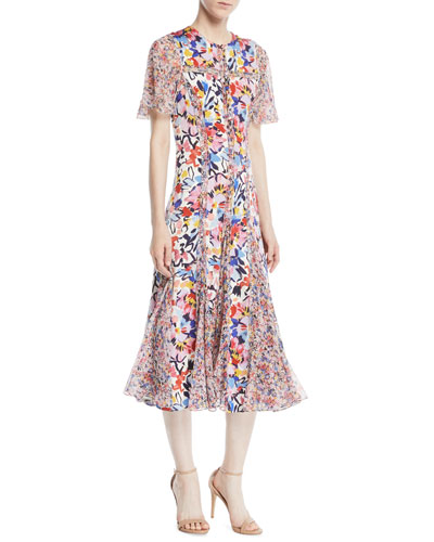 Flutter-Sleeve Floral-Print A-Line Midi Silk Dress w/ Chiffon Panels