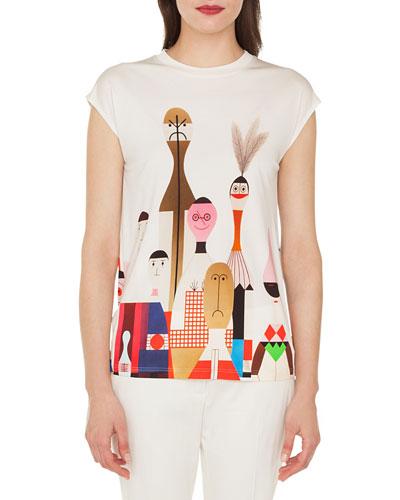 Cap-Sleeve Wooden Doll-Print Silk Jersey Tunic Shirt