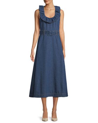 Ruffle-Collar Sleeveless Belted A-Line Denim Dress