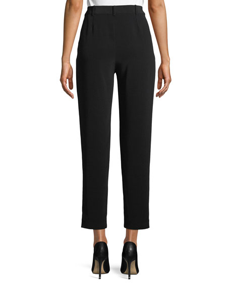Straight-Leg Cropped Crepe Pants