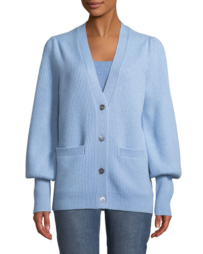 V-Neck Button-Front Wool-Cashmere Ribbed Cardigan