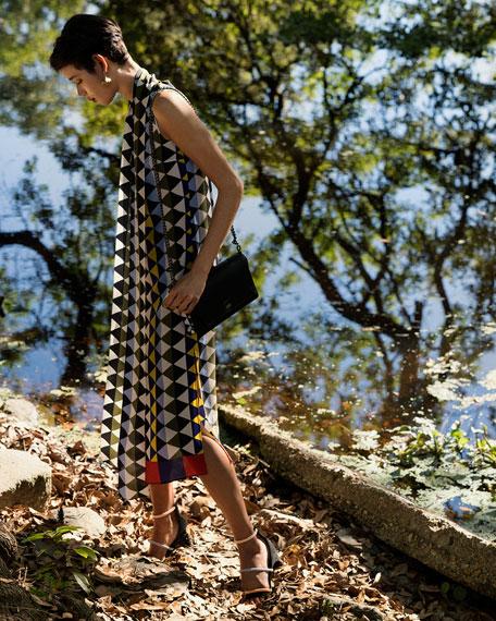 Sleeveless Diamond-Print Silk Crepe A-Line Dress with Neck-Scarf