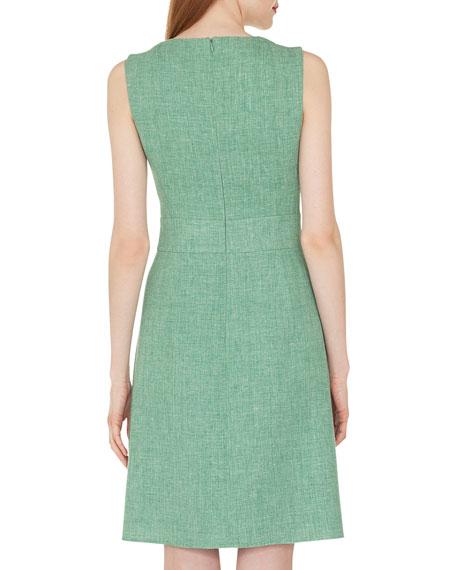 Sleeveless Round-Neck A-Line Double-Face Linen-Wool Dress