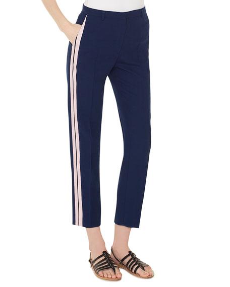 Akris Colin Side-Stripe Wool Pants
