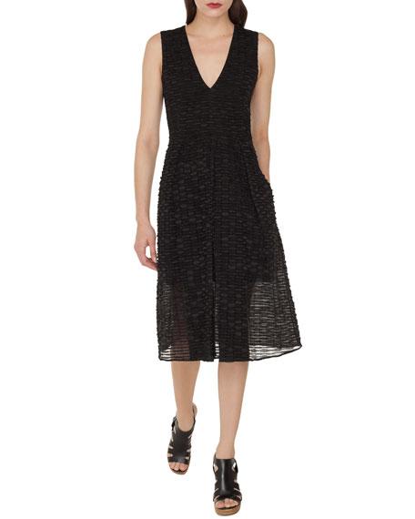 Akris Sleeveless A-Line Stripe Ribbon Organza Dress