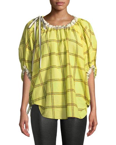Blouson-Sleeve Plaid Cotton Oversized Blouse